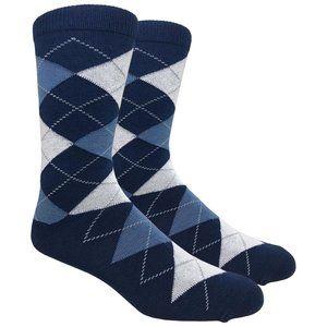 Men's Navy Printed Argyle Dress Socks